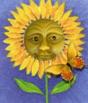 Zonnebloem met gezicht